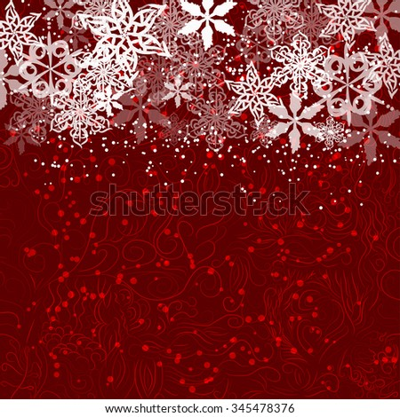 winter framework with snowflake on red curl background - stock vector