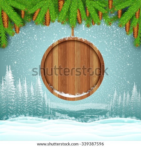 Winter frost landscape with round wood border from fir tree branch - stock vector