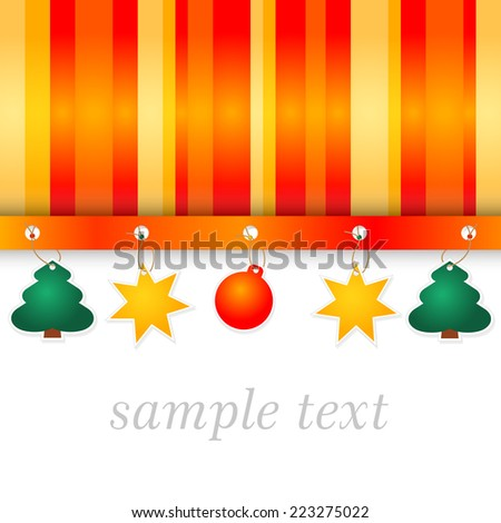 winter full color background with stripes in funny colors - paper tree, star and bulb tags - copy space merry christmas - stock vector