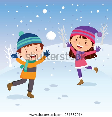 Winter fun. Cheerful kids throwing snowballs or playing in the snow. - stock vector