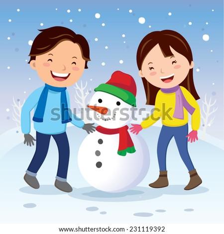 Winter fun. Happy couple building snowman. Winter background. - stock vector
