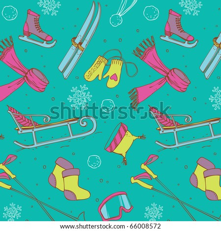 Winter fun seamless pattern - stock vector