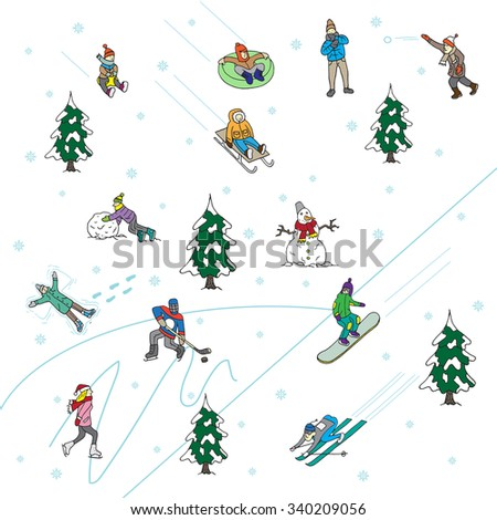 Winter Games in the park. Scenes. Isolated - stock vector