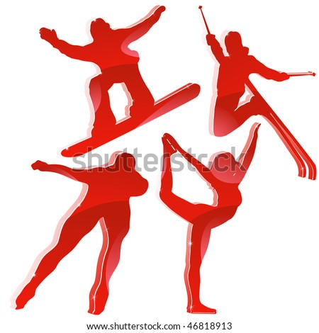 Winter Games Silhouettes in Red. Editable Vector Image - stock vector