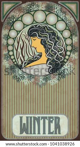 Winter girl, floral banner in art nouveau style, vector illustration