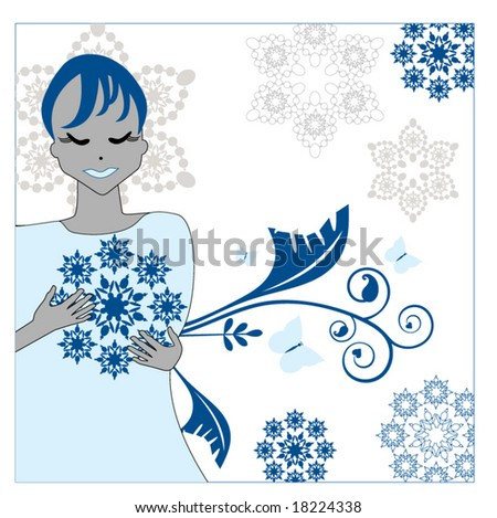 winter girl holding snowflakes 2 - stock vector