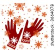 winter gloves two vector - stock photo