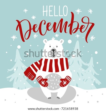 Winter greeting card cute hand drawn stok vektr 721658938 winter greeting card with cute hand drawn polar bear hand drawn lettering phrase hello m4hsunfo