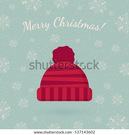 Winter hat on winter backdrop. Holiday card template. Retro style for Christmas and New Year design.