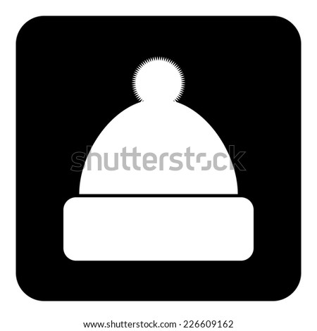 Winter hat symbol button on white background. Vector illustration. - stock vector