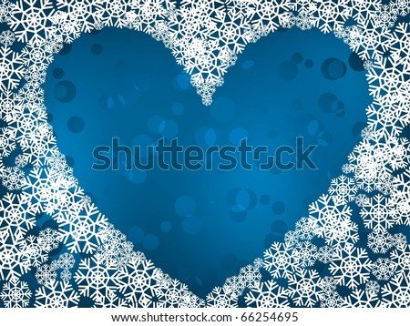 Winter heart shape with snowflakes background. Holiday image - stock vector