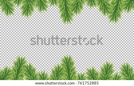 Winter Holiday Background Border With Christmas Tree Branches Isolated On Transparent D