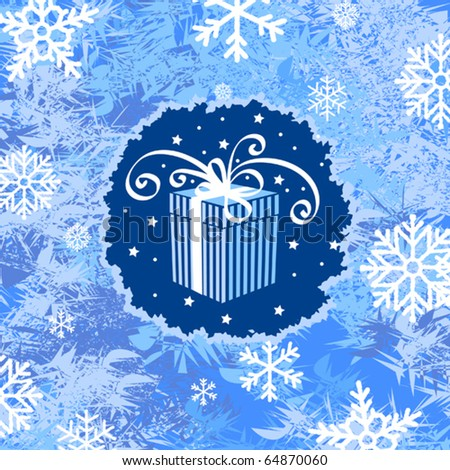 Winter holiday background with gift box and snowflakes - stock vector