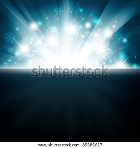 Winter holiday bright explosion with stars and snowflakes - stock vector