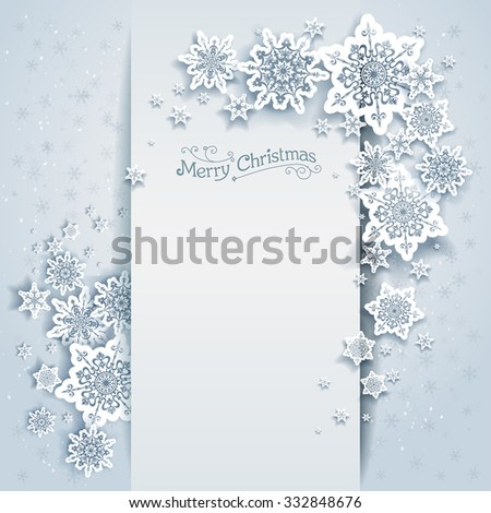 Winter holiday card for web, banner, invitation, leaflet and so on. Christmas background with snowflakes. - stock vector
