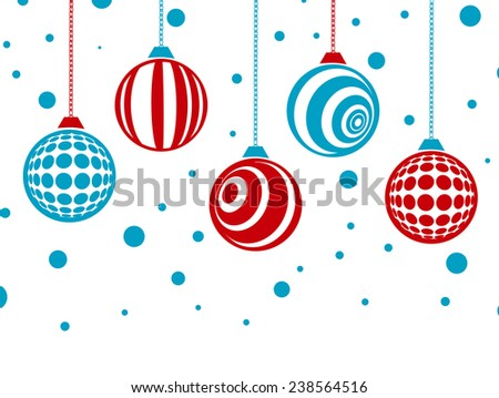 Winter Holiday Christmas Card With Baubles (Without Gradients, 2 Colours) - stock vector