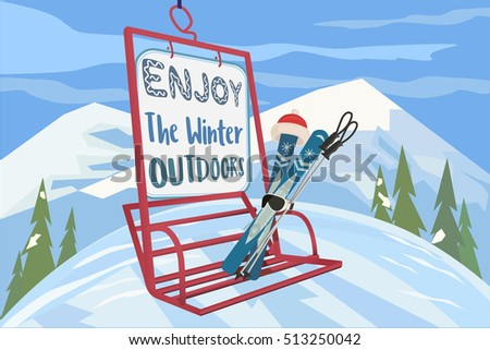 Winter holiday concept. Cartoon style. Enjoy winter outdoors. Snowy season time outdoor sport leisure banner background. Mountain ski resort valley with cableway cabin. Vector illustration