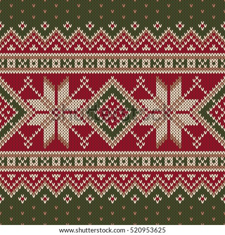 Winter Holiday Fair Isle Knitted Pattern Stock Vector 520953625 ...