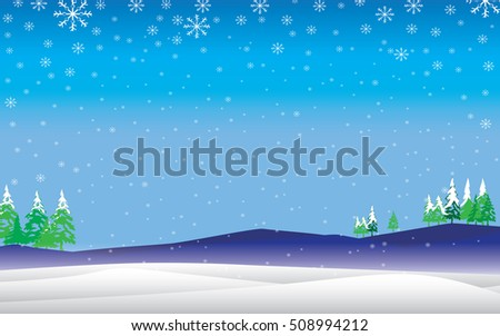 Winter Holiday on a blue sky background. Snow and Chritmas Tree in winter.