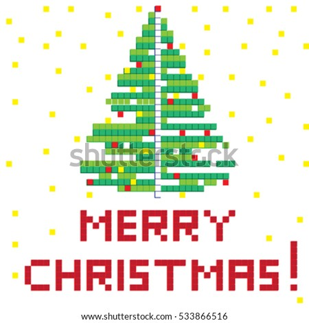 Winter Holiday pixel greetings card, illustration of a scoreboard composition with digital drawing of a Christmas tree