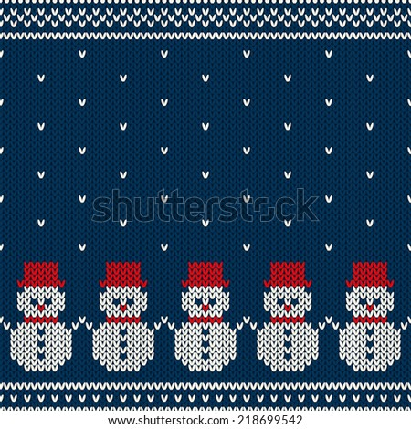 Winter Holiday Seamless Knitted Pattern - stock vector