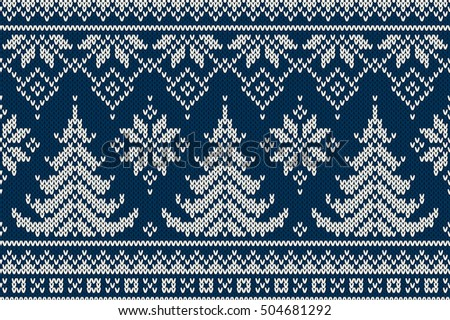 Winter Holiday Seamless Knitting Pattern Christmas Stock Vector