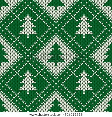 Winter Holiday Seamless Knitting Pattern Christmas Stock Vector