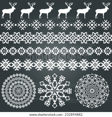Winter holiday set in white colour on chalkboard background. Deer and snowflakes borders, ethnic borders and round patterns. Could be used for web, cards, decorations, etc. Vector illustration - stock vector