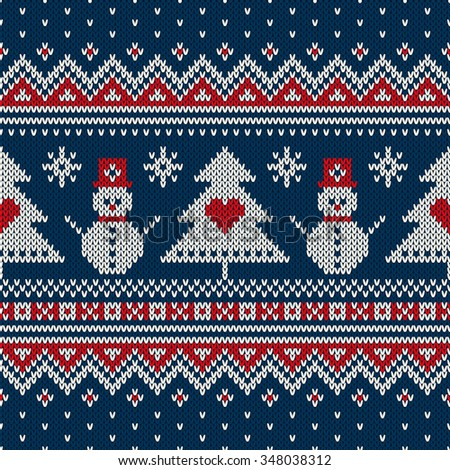Winter Holiday Sweater Design. Seamless Knitting Pattern - stock vector
