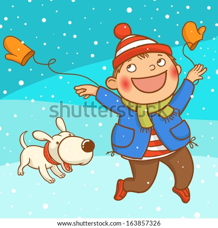 Winter holidays. Boy and dog playing with snow. Children illustration for School books, picture books, magazines, advertising, holiday and Christmas cards and more. Separate Objects. VECTOR. - stock vector