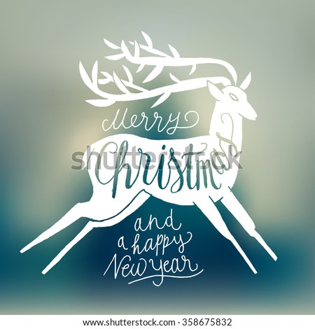 winter holidays deer handwriting. blurred background. - stock vector