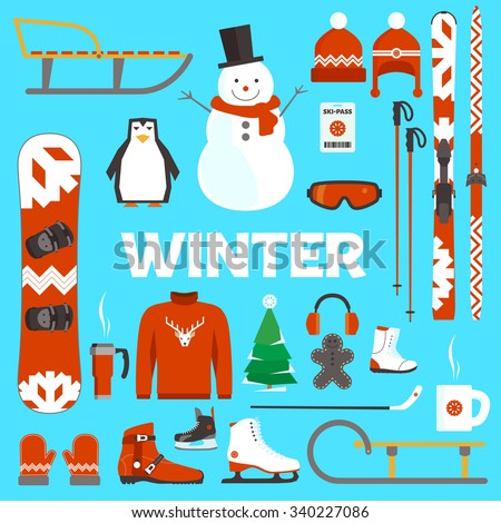 Winter holidays flat objects and equipment on blue background - stock vector