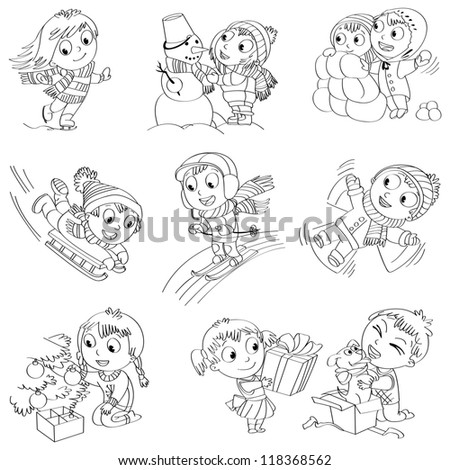 Winter holidays. Little girl sculpts snowman, skating, skiing, sledding, dresses up Christmas tree, boy received a gift of a puppy, makes a snow angel, children playing in snowballs, vector set - stock vector