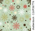 Winter holidays seamless pattern with cartoon snowflakes. Made in retro style - stock vector