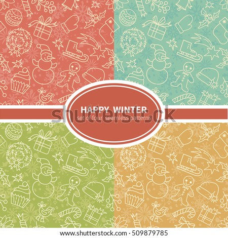 Winter Holidays Seamless Patterns Set All Objects Are Conveniently Grouped And Easily Editable