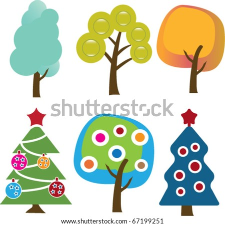 winter holidays trees. vector - stock vector
