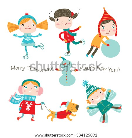 Winter holidays. Vector set. Cute kids are playing winter games. - stock vector