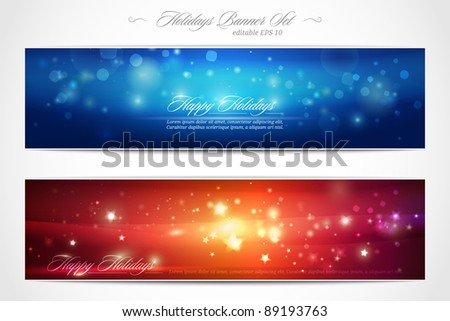 Winter Holidays web banner set | editable EPS 10 vector illustration - stock vector