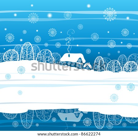 winter house in the snow, new year greeting card - stock vector