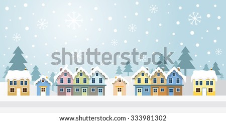 Winter Houses with Snowing Background, Panorama, Mountain and Forest Scene