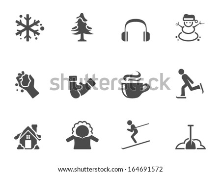 Winter icons in single color - stock vector