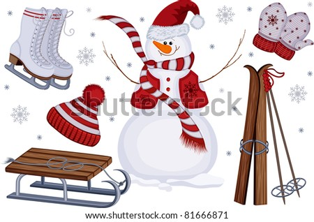 Winter icons with snowman, sled, skates, skis, mittens and cap - stock vector