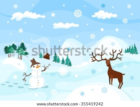 winter illustration - stock vector