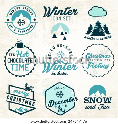 Winter Illustrations and Badges Set - stock vector