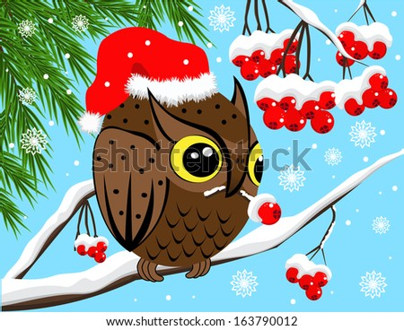 Winter image with red berries and owl - stock vector