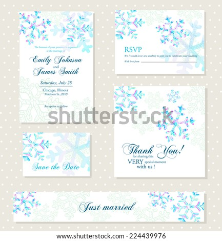 Winter invitation background with watercolor snowflakes - stock vector