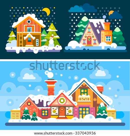 Winter is coming! So here're some nice winter day and night landscapes. Stock flat vector illustration set. - stock vector