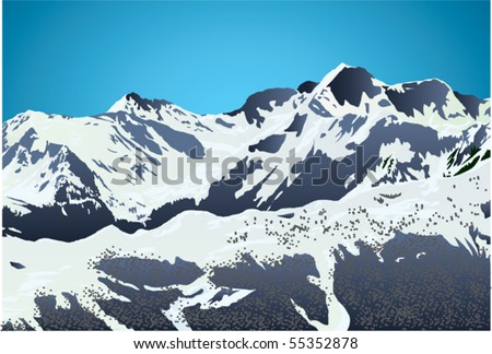winter landscape - stock vector