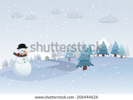 Winter landscape and snowman - stock vector