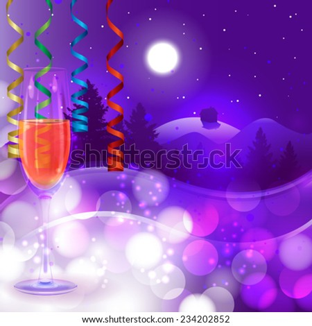Winter landscape background with champaign - stock vector